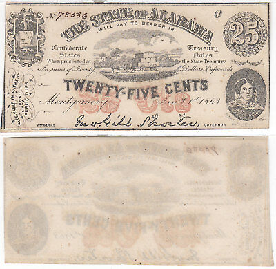 1863 25 Cent The State Of Alabama Montgomery Cr-6 Unc Obsolete Currency
