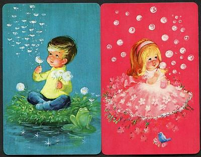 Children Blowing Bubbles Swap Cards Pair In New Condition Very Beautiful
