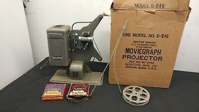 Vintage Keystone Moviegraph E-946 16mm Movie Projector and accessories