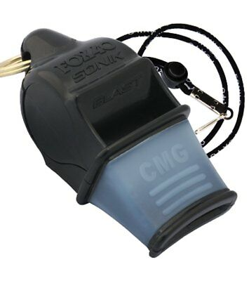Fox 40 Sonik Blast CMG 2-Chamber Pealess Whistle with Lanyard, Black