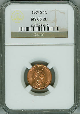 1969 S NGC MS65 RD Penny Lincoln Cent, Beautiful Color!