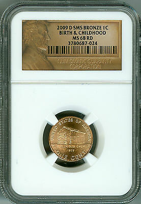 2009 D Ngc Sms Bronze Lincoln Cent Ms68 Rd,birth & Childhood,2Nd Finest Registry
