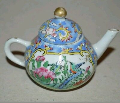 Miniature Hand Painted  Chinese Porcelain  Teapot