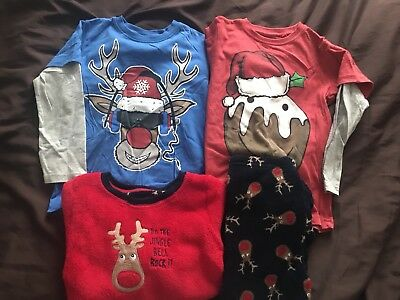 Boys Size 4-5 Year Christmas Pjs And Tops
