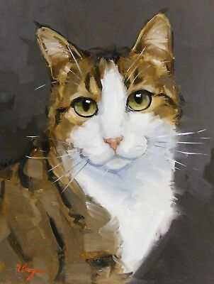 Original animal Oil painting - cat  portrait - hand painted - by j payne