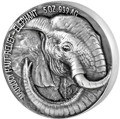 2017 5 Oz ELEPHANT BIG FIVE MAUQUOY Silver Coin..