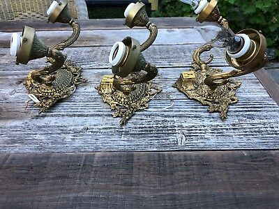 Ornate Antique Heavy Brass Double Arm Wall Sconce Light Floral Ribbon Pair Set 3