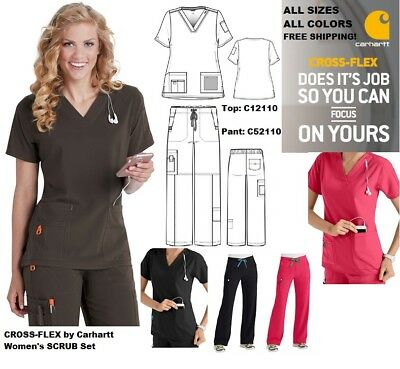 Carharrt Women's Cross Flex Scrub Sets (Top : C12110 / Pant : C52110 ) Free ship