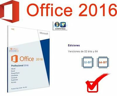 OFERTA Office 2016 Pro Plus 32/64 Bits - Licencia Oficial Español 1PC