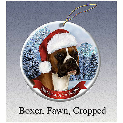 Boxer Fawn Cropped Howliday Porcelain China Dog Christmas Ornament