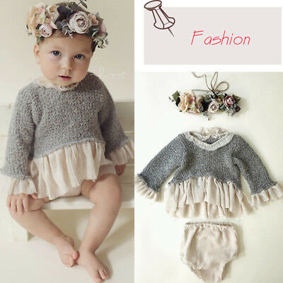 Christmas Infant Baby Girl Dress Knit Crochet Sweater Top Lace Dresses Skirts US