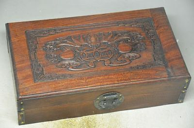 Unique Chinese Hardwood Skillfully carving Wooden box - bats zp
