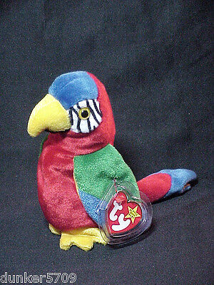 1998 Jabber The Parrot Ty Beanie Baby Pe Pellets Made In China Plush With Tags