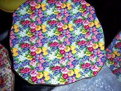 """Chintz Royal Winton Grimawades  England Julia Cake Plate  Stand Vtg 11""""W 5 1/2 H"""