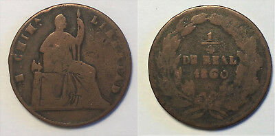 Mexico State Copper - 1860 1/4 Real Libertad (Chihuahua) - KM344