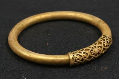 Chinese Exquisite Hand-carved copper Gilt bracelet