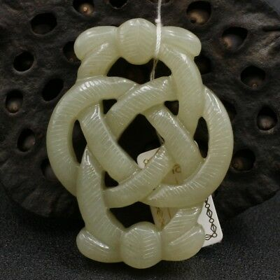Chinese Exquisite Hand-carved Chinese knot carving Hetian jade Pendant