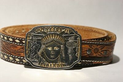 Rare Statue of Liberty Leather Belt Buckle 100 Years1984 -199 Numbered Long 42''