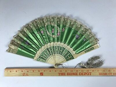 Antique Folding Fan Hand Painted Double Sided Bone Floral Carved 1800's