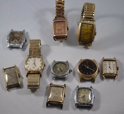 Lot of 10 Vintage 1920s-40s Mens Tank Wristwatches: Elgin, Gruen, Bulova, Swiss