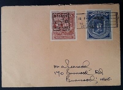 Rare / Unusual 1947 Victoria Australia Cover ties Hospital Charity stamps to NSW