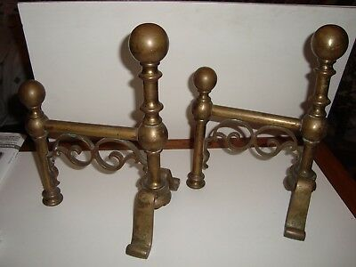 Antique Pair of Victorian Brass Fire Dogs,Fireplace Tool Rest,Andirons