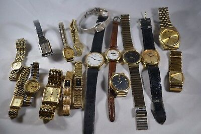 Lot of 17 Vintage Seiko Mens & Ladies Quartz Wristwatches 1980s-90s