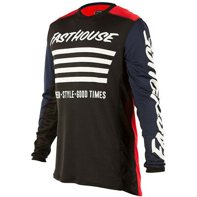 NEW Fasthouse 2018 MX Gear L1 Stripes Red Navy Vented Adult Motocross Jersey