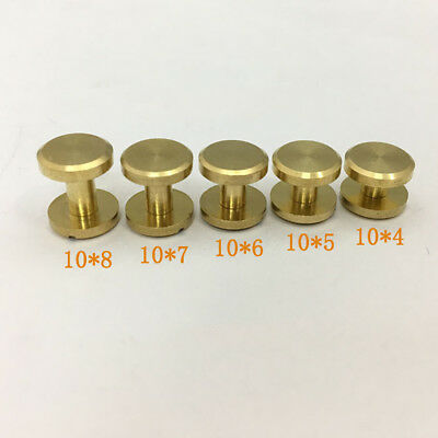10 X Belt Screw Brass Solid Rivets Stud Head Leather Craft Chicago Nail Wallet