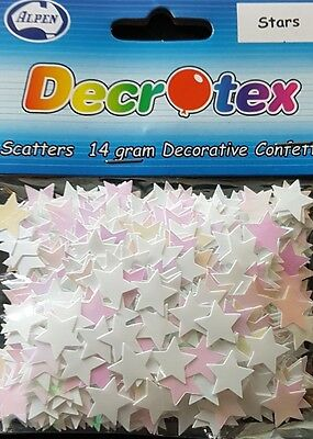 Alpen Confetti Stars Iridescent White table scatters weddings parties