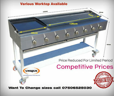 8 Burner Gas Chargrill/Charcoal Grill Heavy Duty Commercial Use