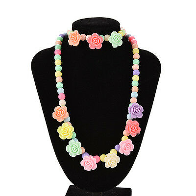 Colorful Beads Necklace Bracelet Set Baby Girls Jewelry Good gift Rose  O