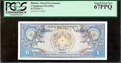 1981 Bhutan--Royal Government 1 Ngultrum ND (1981) PCGS 67PPQ Superb Gem New