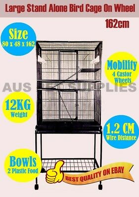 Parrot Aviary Budgie Canary Bird Rat Cage on Wheels Stand-Alone Large 162CM