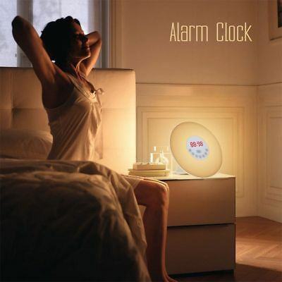 Wake up LED Light Sunrise Alarm Clock w/ FM Radio Bedside Sounds Night Lamp Gift