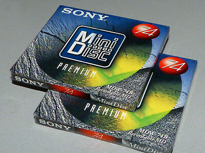 "2x Sony MDW-74B - Premium  Minidisc - MD74 - "" NEU in OVP - sealed and unused """