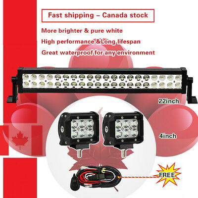 22inch LED Light Bar Combo + 4inch Cree Work Lights Offroad Truck Jeep SUV 24/20