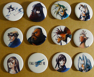Final Fantasy 7 Game Portrait Pins / Pinbacks / Buttons Cloud Strife Tifa Barret