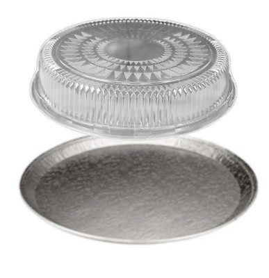 """Handi-Foil of America 16"""" Round Flat Aluminum Foil Catering Serving Tray w/Clear"""