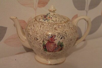 Vintage Gold & Cream Crown Ducal Tea Pot With Crinoline Lady Picture