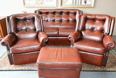 4 Piece Moran Barcelona Chesterfield Sofa Couch Lounge Suite Chairs Armchairs