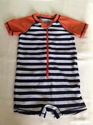 Boys  Age 18-24 Months Swim Sun Suit Black/white Stripes Design