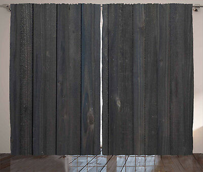 Dark Grey Curtains Wood Fence Rustic Window Drapes 2 Panel Set 108x63 Inches
