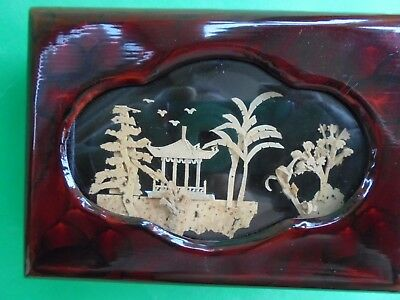 Vintage Oriental Lacquer Wear Jewellery Box Carved Cork Temple Scene