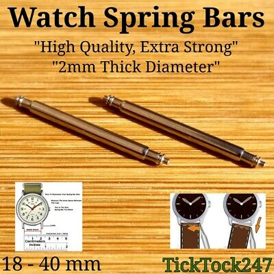 2MM EXTRA THICK HEAVY DUTY HIGH QUALITY SPRING BARS/PINS (UNIVERSAL) 18-40mm