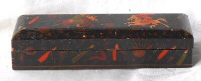 C19Th Hand Painted Oriental Lacquered Paint Brush Box