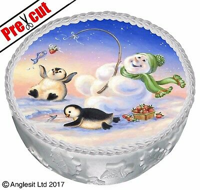 """Pre-Cut Christmas Cake C I. Topper 7"""" / 18Cm Edible Wafer Paper Party Decoration"""