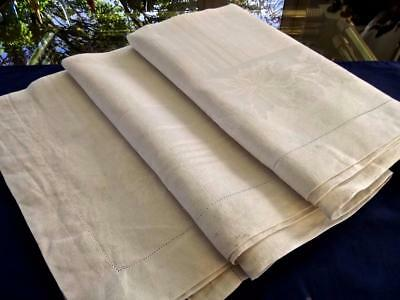 Antique White Damask Linen 60x100 Tablecloth Art Deco Stripes Orchids Hemstitch