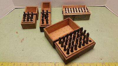 Antique Steel Letter And Number Die Stamp Sets Wood Boxes Leather Blacksmith Use