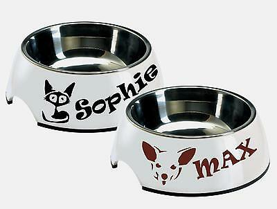 2x Personalized Name Dog Cat Pets Bowl  Bed Vinyl Decal SТICKERS Waterproof